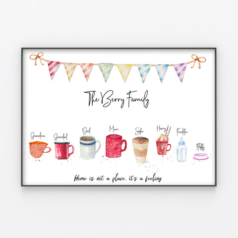 Cups Family Print, Mugs and Drinks, Personalised Wall Art Gift for Home