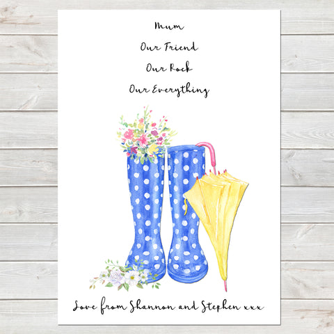 Wellington Boot Mothers Day Print, Personalised Rain Boot Wall Art Gift