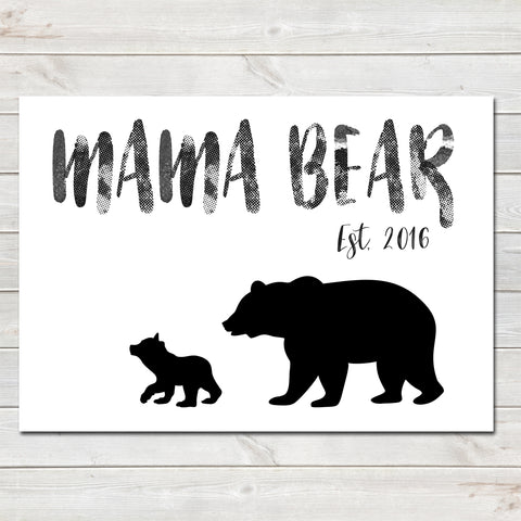 Mama Bear One Cub Sentimental Print / Poster / Gift • Customisable