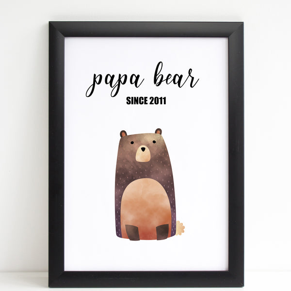 Fathers Day Print 'Papa Bear' Personalised Poster Gift for Dad