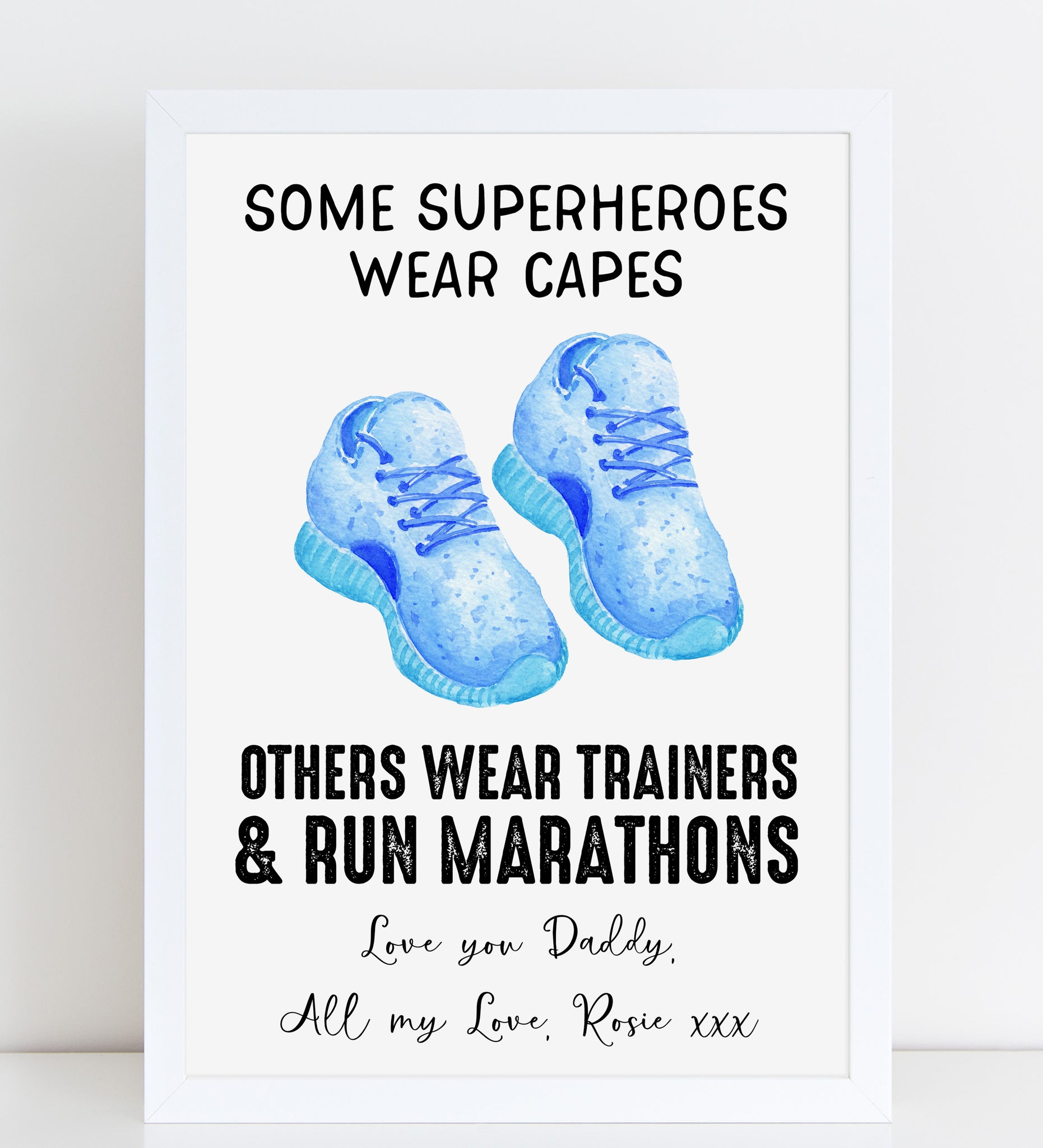 Fathers Day Print Funny Superhero Trainers Personalised Gift for Him, A4 or A3, Framed Available