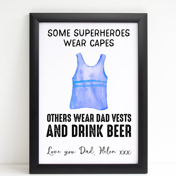 Fathers Day Print Funny Superhero Vest Personalised Poster Gift for Him