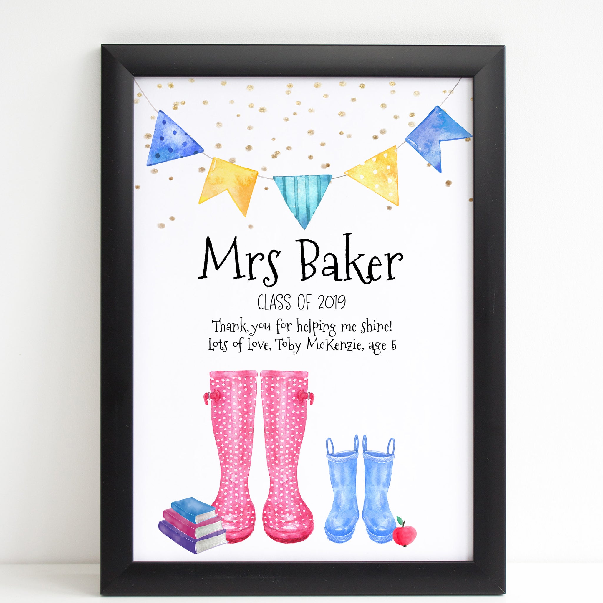 Best Teacher Wellington Print, Personalised Wall Art Gift