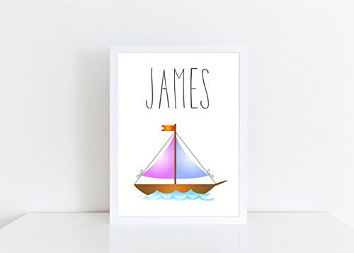 Sail Boat Personalised Name Poster White Background, Nursery / Kids Bedroom Print