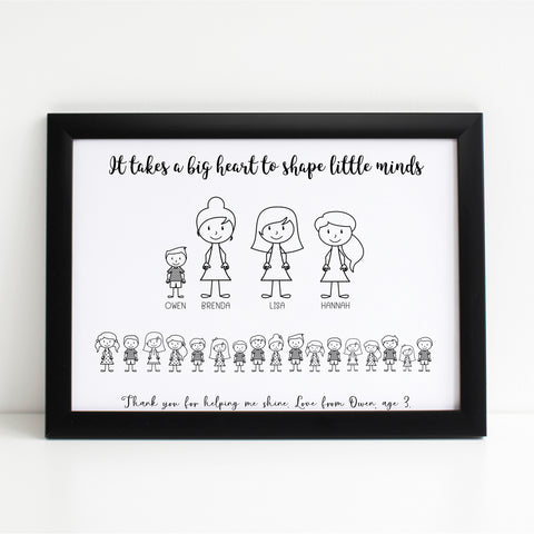 Thank you Teachers, Classroom Print, Personalised Wall Art Gift