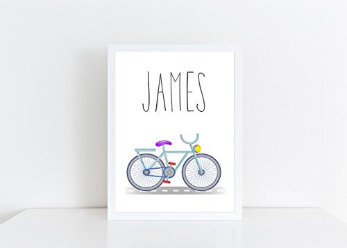 Bicycle Personalised Name Poster White Background, Nursery / Kids Bedroom Print