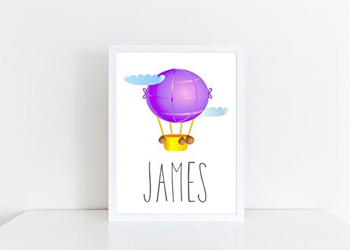 Hot Air Balloon Purple Personalised Name Poster White Background, Nursery / Kids Bedroom Print- A4