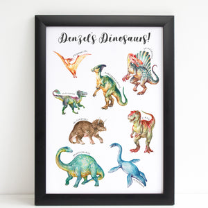 Dinosaur Print for Kids Bedroom, Personalised Poster Colourful Dinos A4 or A3