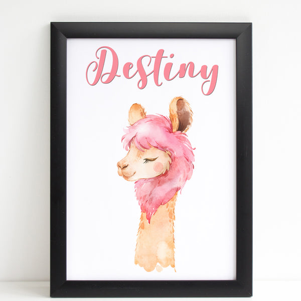 Lovely Llama with Pink Hair Print, Cute Personalised Animal Print for Kids