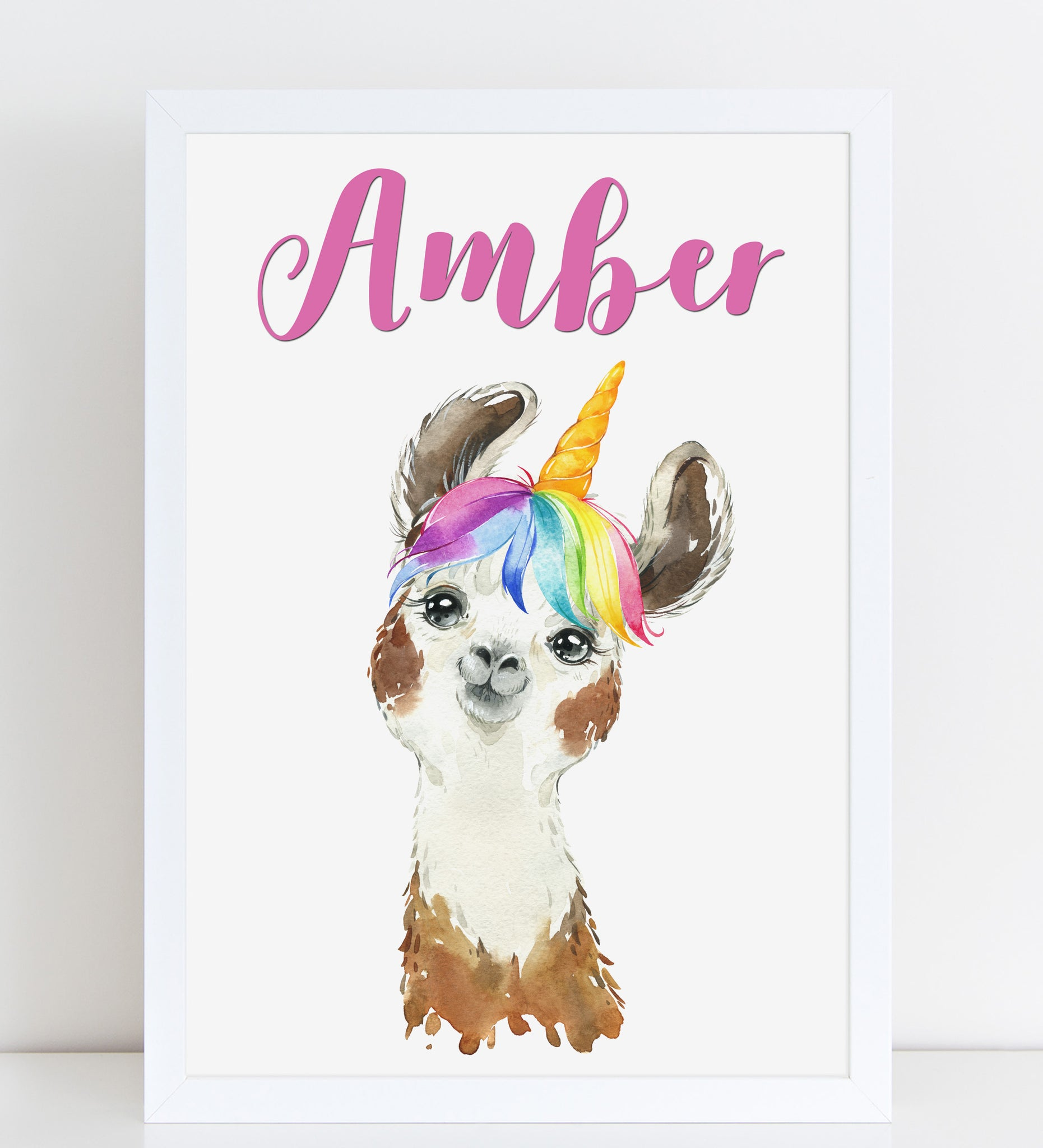 Funny Unicorn Llama Print, Cute Personalised Animal Print for Kids