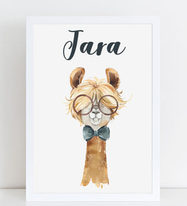 Funny Llama with Glasses Print, Cute Personalised Animal Print for Kids, A4 or A3
