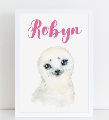 Baby Seal Print, Cute Personalised Animal Print for Kids