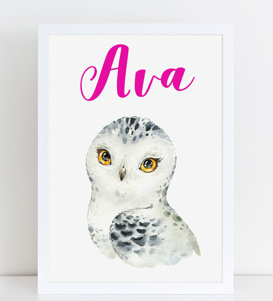 Snowy Owl Beautiful Print, Cute Personalised Animal Print for Kids, A4 or A3