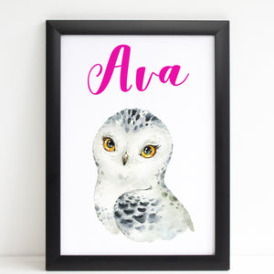 Snowy Owl Beautiful Print, Cute Personalised Animal Print for Kids