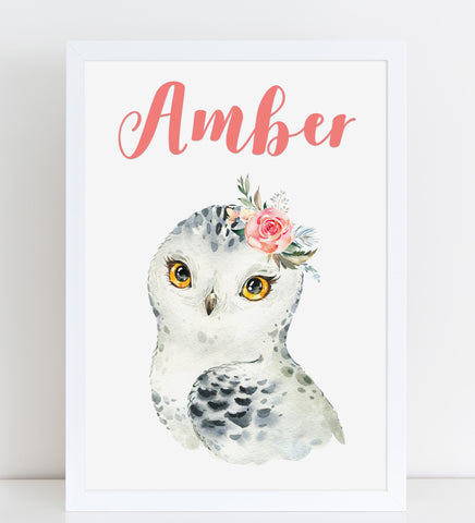 Snowy Owl with Flowers Print, Cute Personalised Animal Print for Kids