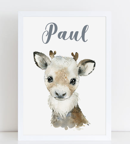 Reindeer Print, Cute Personalised Animal Print for Kids, A4 or A3