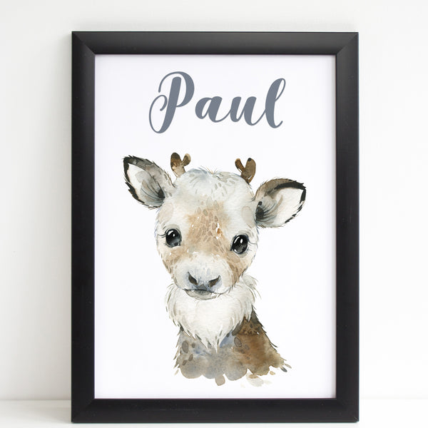 Reindeer Print, Cute Personalised Animal Print for Kids