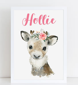 Reindeer with Flowers Print, Cute Personalised Animal Print for Kids