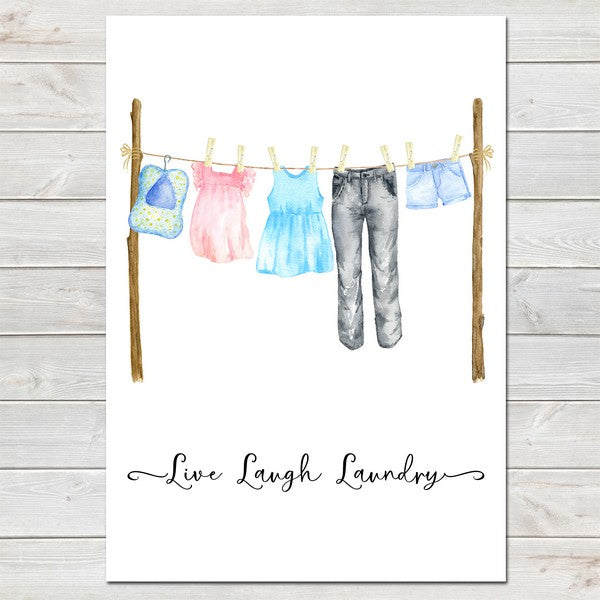 Kitchen Print, Live Laugh Laundry Washing Line Wall Art Mother's Day Gift