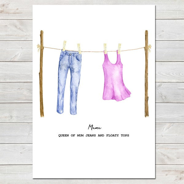 Mother's Day Washing Line Print Unique Personalised Wall Art Gift For Her