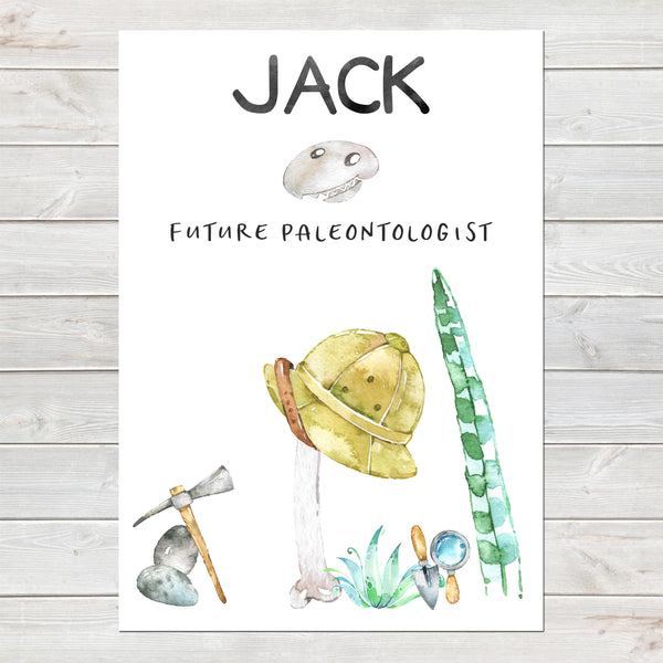 Dinosaur Name Print, Future Paleontologist Bedroom Print for Kids, Personalised Gift