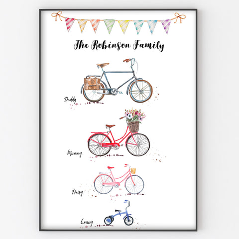 Bicycle Family Print, Personalised Wall Art Gift for Home