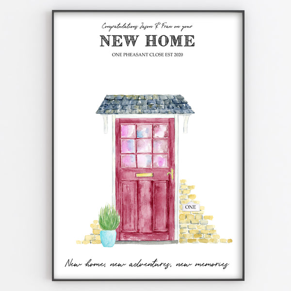 New Home Print Custom Quote, Personalised Front Door Art Gift
