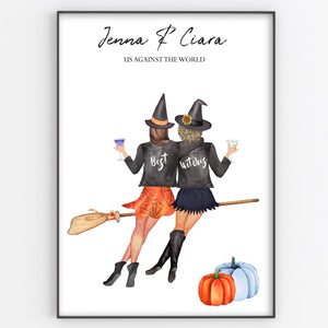 Best Witches, Friend, Sister, Colleague Personalised Print, Fun Halloween Gift