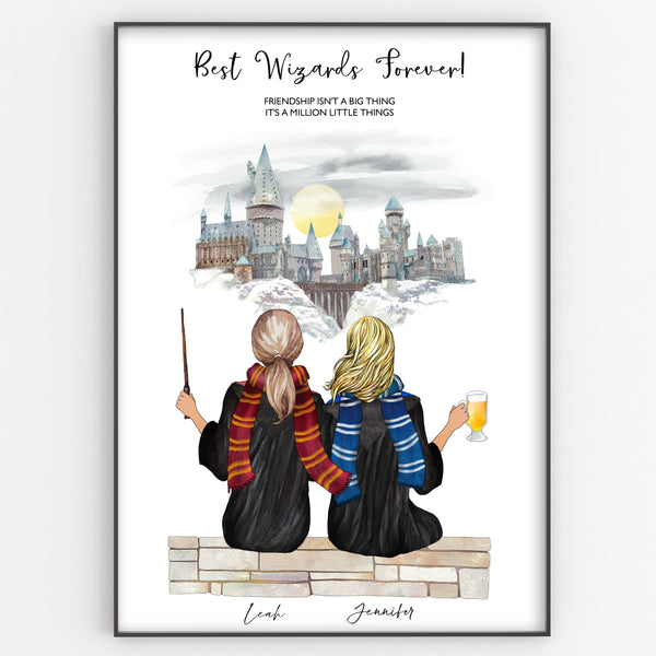 Best Friend Wizard Print, Fun Personalised Portrait Style Gift