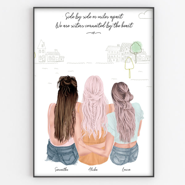 Three Best Friends / Sisters / Hugging Print, Personalised Portrait Boho Style Gift