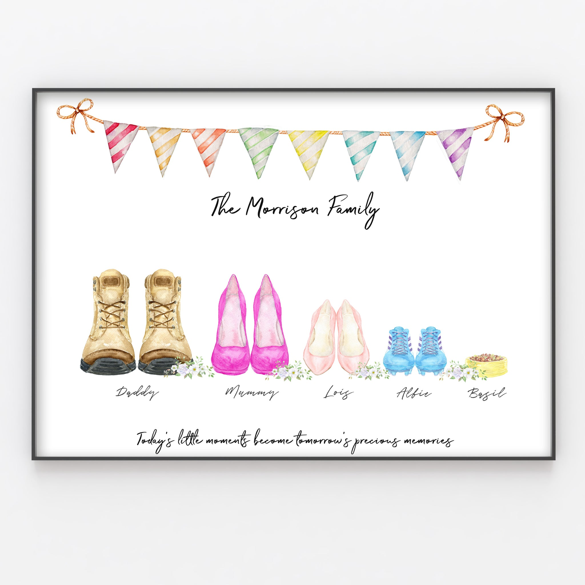 Shoe Family Feet Print Custom Quote, Personalised Wall Art Gift