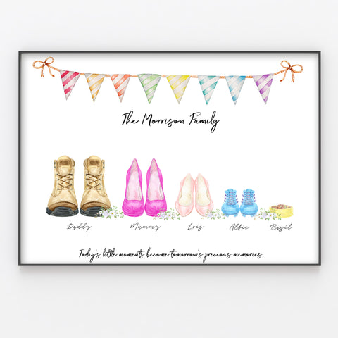 Shoe Family Feet Print Custom Quote, Personalised Wall Art Gift A3 or A4