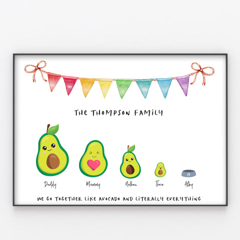 Avocado Family Print, Wall Art Gift for Home Personalised