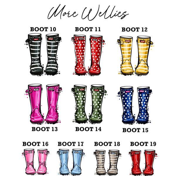 Shiny Wellington Boot Family Print Personalised Rain Boot Wall Art Gift