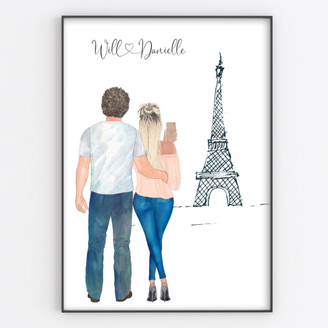 Romantic Couple Selfie Print, Paris / Neighbourhood Scene Personalised Portrait Style Anniversary Gift