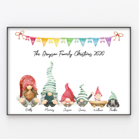 Gnome Family Personalised Christmas Print, Cute Keepsake for Parents or Grandparents