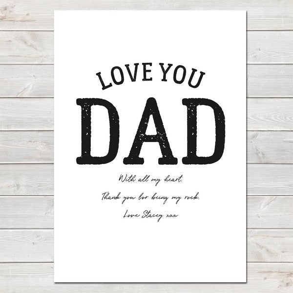 Fathers Day Print 'Love You Dad' Personalised Poster Gift for Him