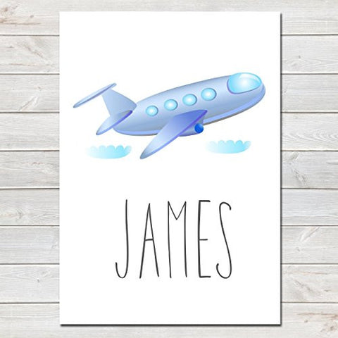 Blue Aeroplane Personalised Name Poster White Background, Nursery / Kids Bedroom Print- A4