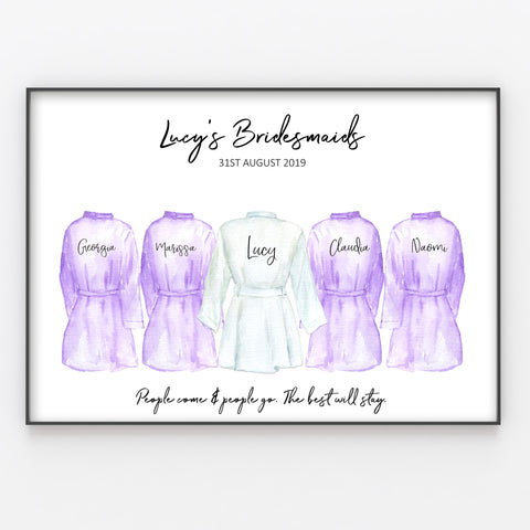 Personalised Bridesmaid Print, Anniversary / Wedding Gift A4 or A3