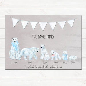 Polar Bear Family Print, Wall Art Gift for Home Personalised in A3 or A4