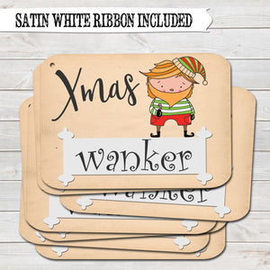 Rude Christmas Gift Tags, Xmas Wanker, Present Accessories (Pack of 8)