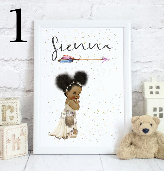 Boho Baby Girl Name, Toddler Bedroom Print/Personalised Nursery Decor