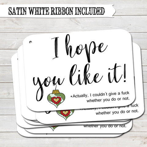 Rude Christmas Gift Tags, Hope You Like It, Present Accessories White (Pack of 8)