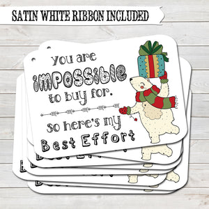 Christmas Gift Tags, Best Effort, Present Accessories White (Pack of 8)