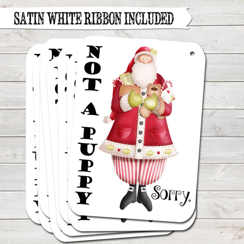 Christmas Gift Tags, Not a Puppy, Funny Present Accessories White (Pack of 8)