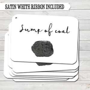 Christmas Gift Tags, Lump of Coal, Funny Present Accessories White (Pack of 8)