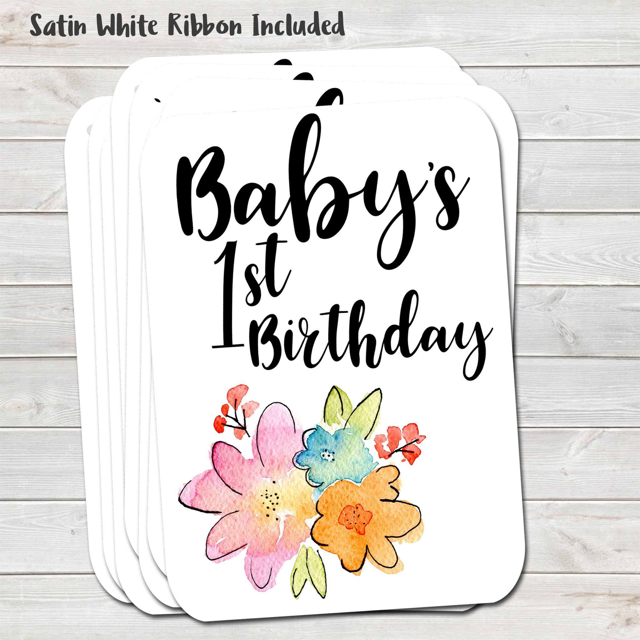 Baby's First Birthday Gift Tags, Floral Present Accessories (Pack of 8)