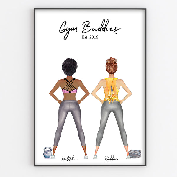Fitness Friends, Gym Buddies Unique Personalised Print, Fun Portrait Style Gift