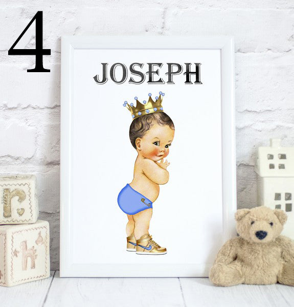 Baby Boy Prince Name, Toddler Bedroom Print/Personalised Nursery Decor