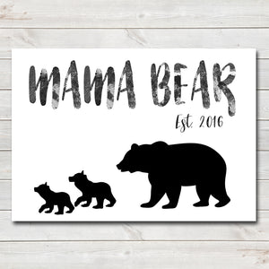 Mama Bear Two Cubs Sentimental Print / Poster / Gift • Customisable